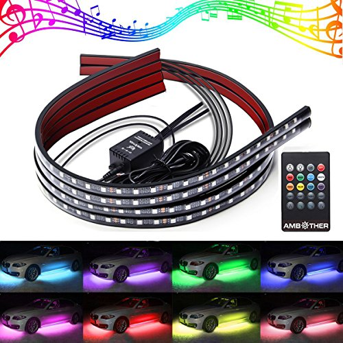 full colors,72LEDS Car led light strips Interior Lights 72 LED Multicolor Music LED Underdash Lighting Glow Neon Decoration Lighting Kit with Sound Active Function and Wireless Remote Control Including Car Charger RGB LED Interior Neon Light.